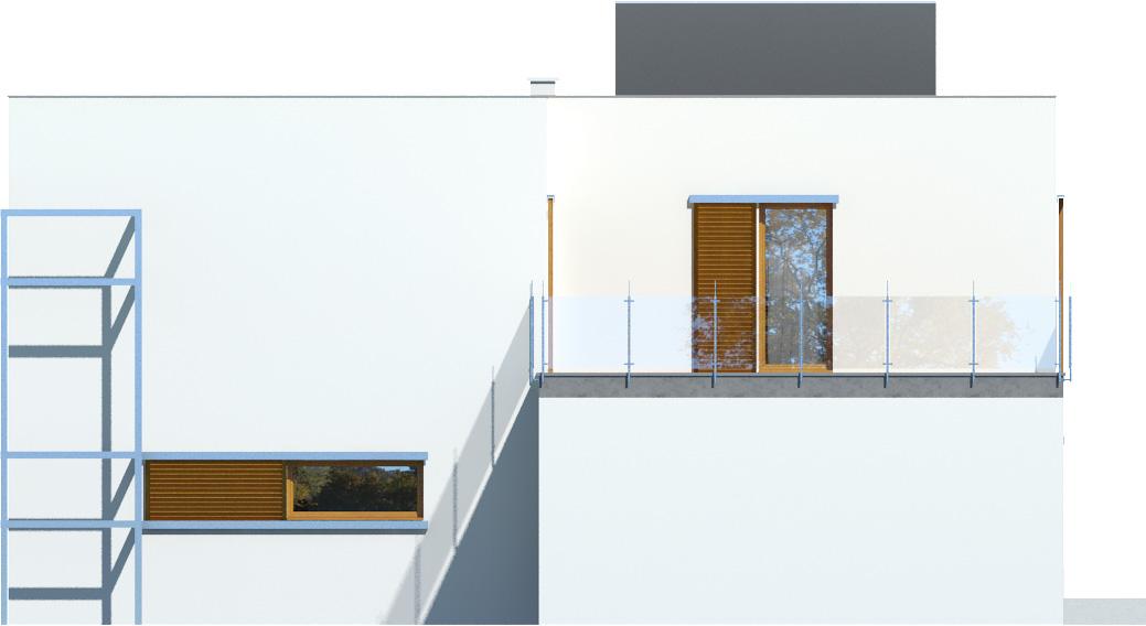 Projekt domu ZIELONY TARAS Domy Czystej Energii elewacja boczna