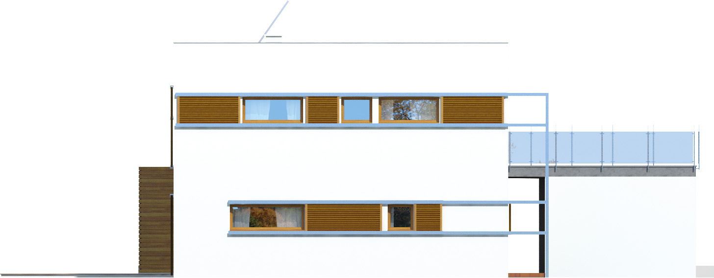 Projekt domu ZIELONY TARAS Domy Czystej Energii elewacja tylna