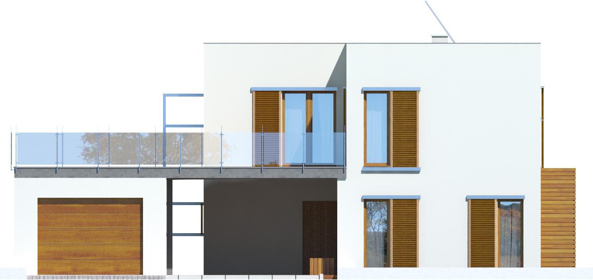 Projekt domu ZIELONY TARAS Domy Czystej Energii elewacja frontowa