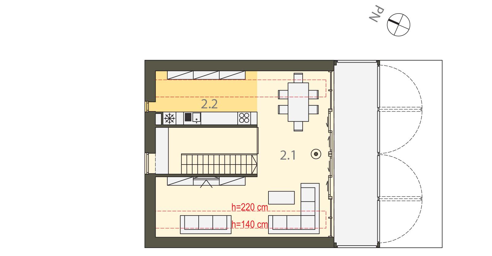 Projekt domu Z TARASEM Domy Czystej Energii rzut piętra