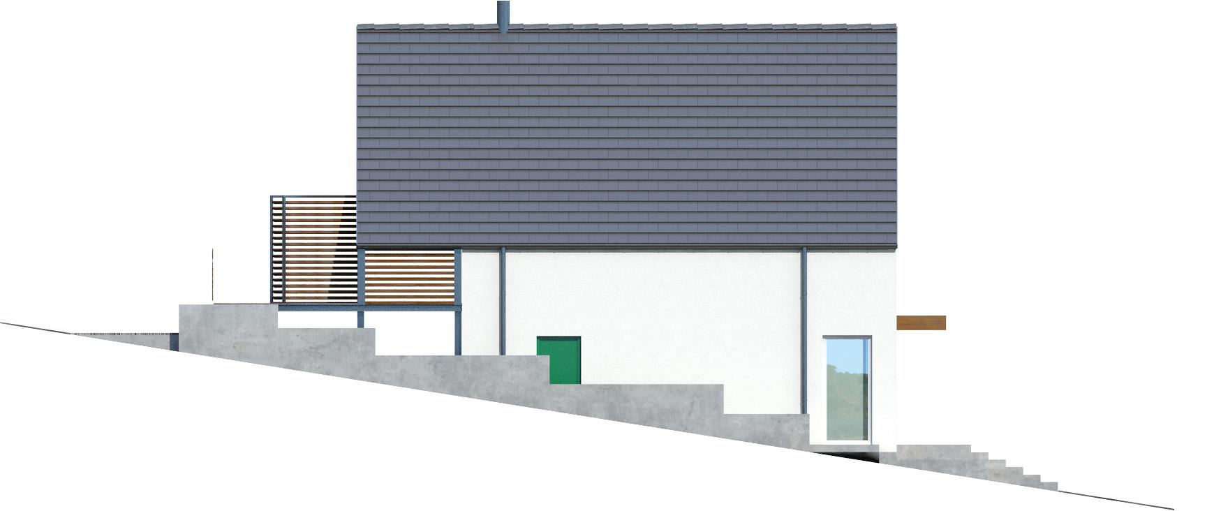 Projekt domu Z TARASEM Domy Czystej Energii elewacja boczna
