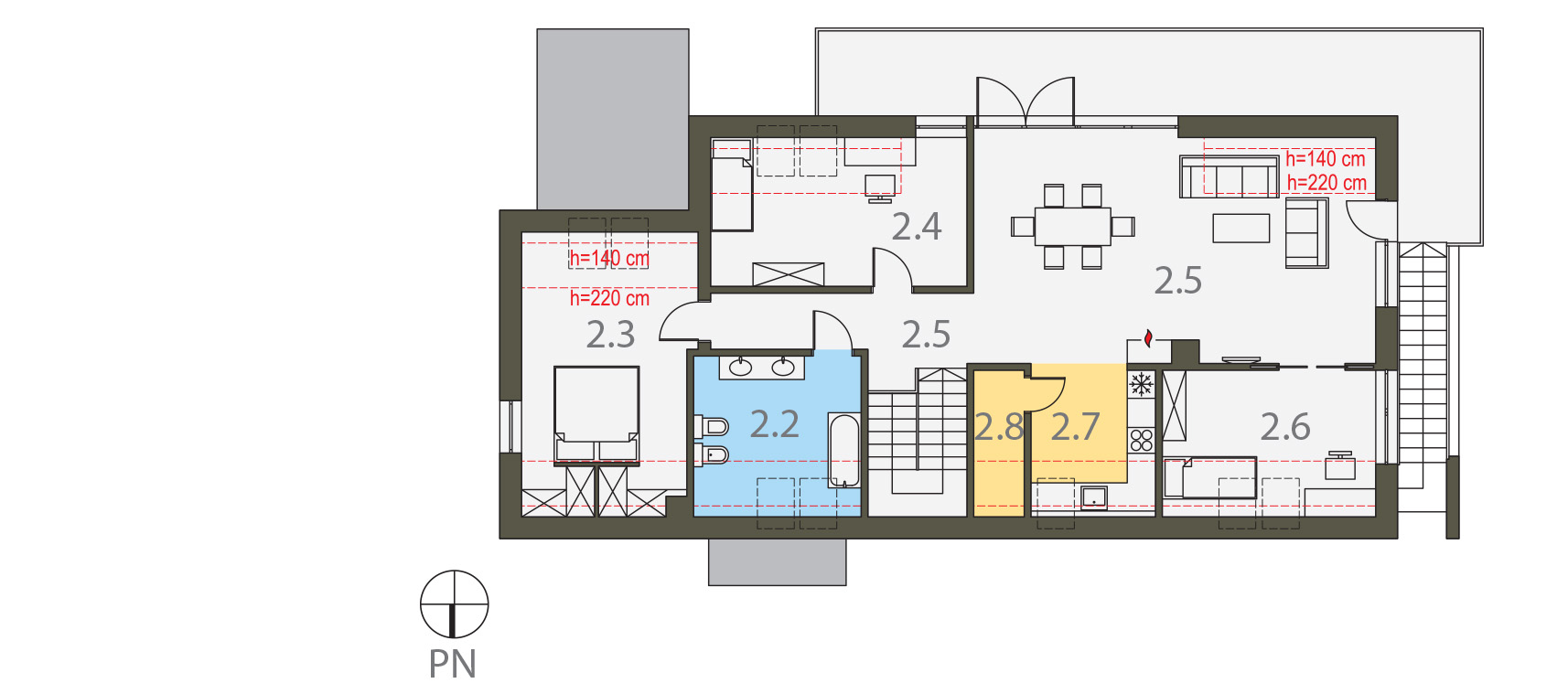 Projekt domu Z USŁUGĄ Domy Czystej Energii rzut piętra