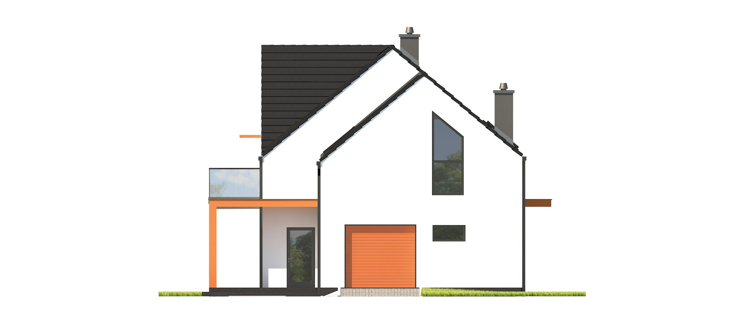 Projekt domu Z USŁUGĄ Domy Czystej Energii elewacja frontowa