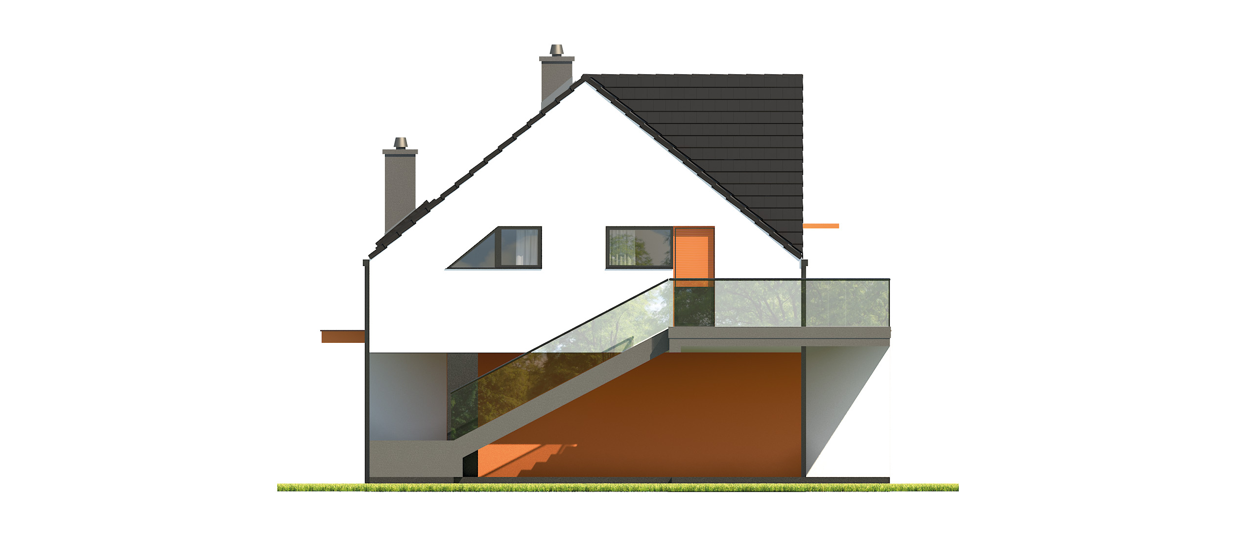 Projekt domu Z USŁUGĄ Domy Czystej Energii elewacja tylna