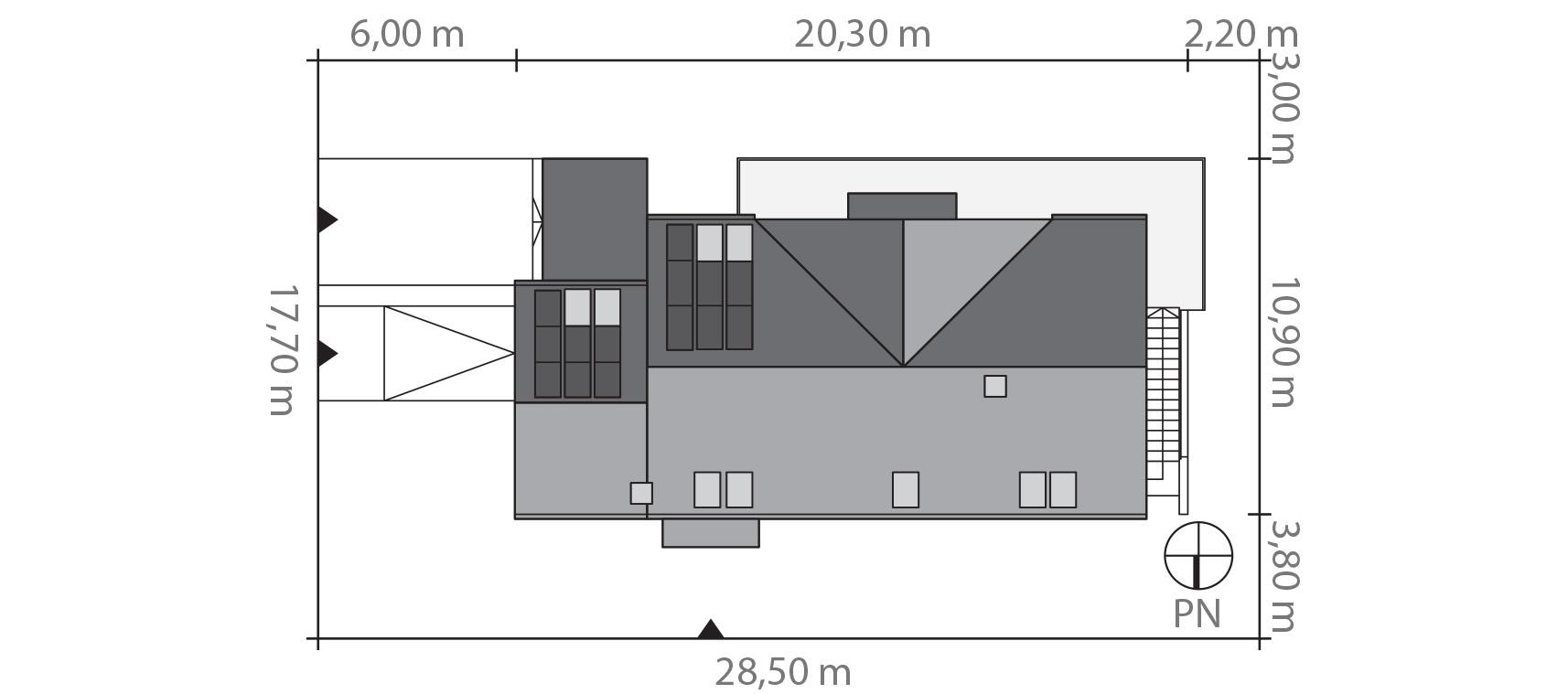 Projekt domu Z USŁUGĄ Domy Czystej Energii rzut działki