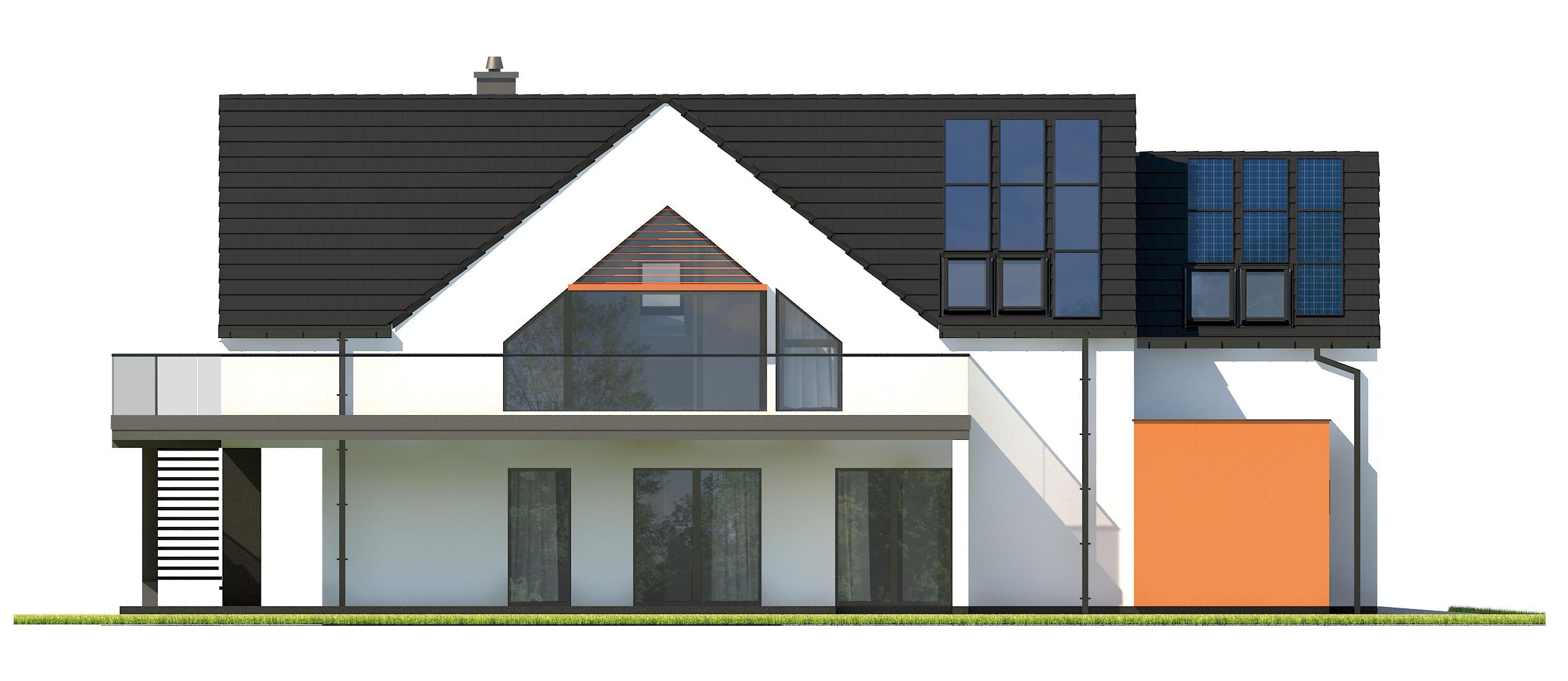 Projekt domu Z USŁUGĄ Domy Czystej Energii elewacja boczna
