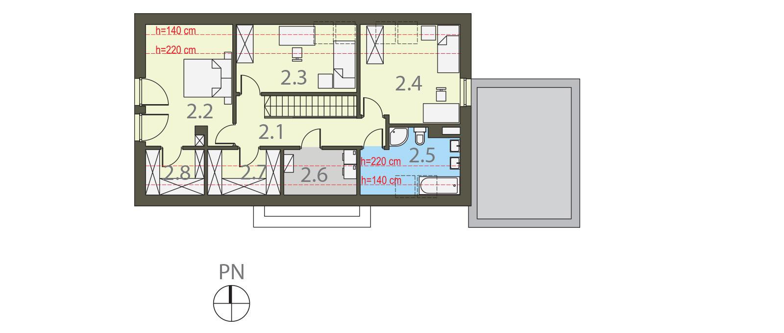 Projekt domu Z WNĘKĄ Domy Czystej Energii rzut piętra