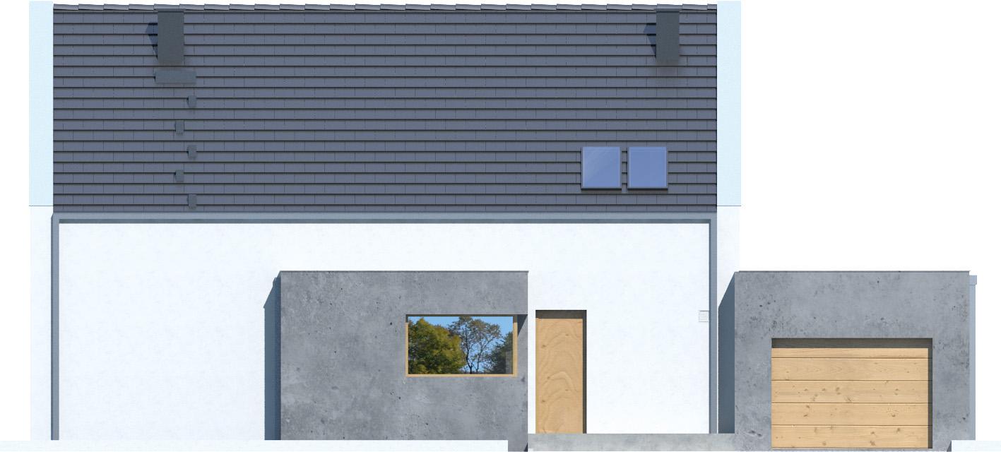 Projekt domu Z WNĘKĄ Domy Czystej Energii elewacja frontowa