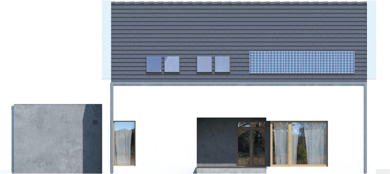 Projekt domu Z WNĘKĄ Domy Czystej Energii elewacja tylna