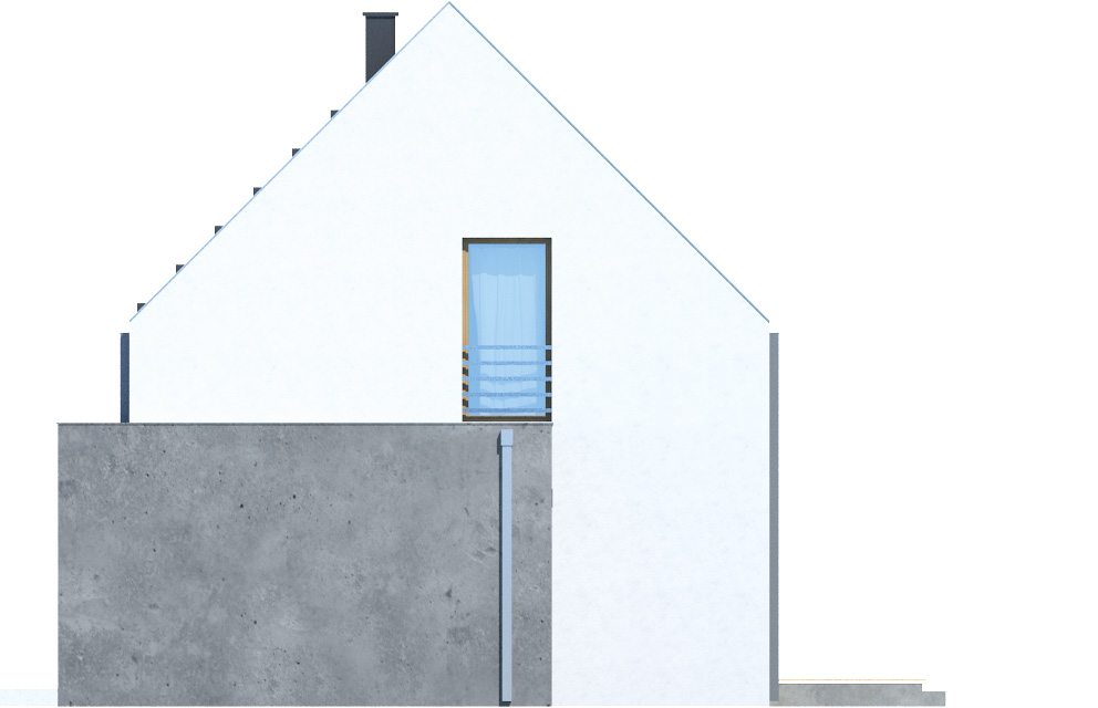 Projekt domu Z WNĘKĄ Domy Czystej Energii elewacja boczna