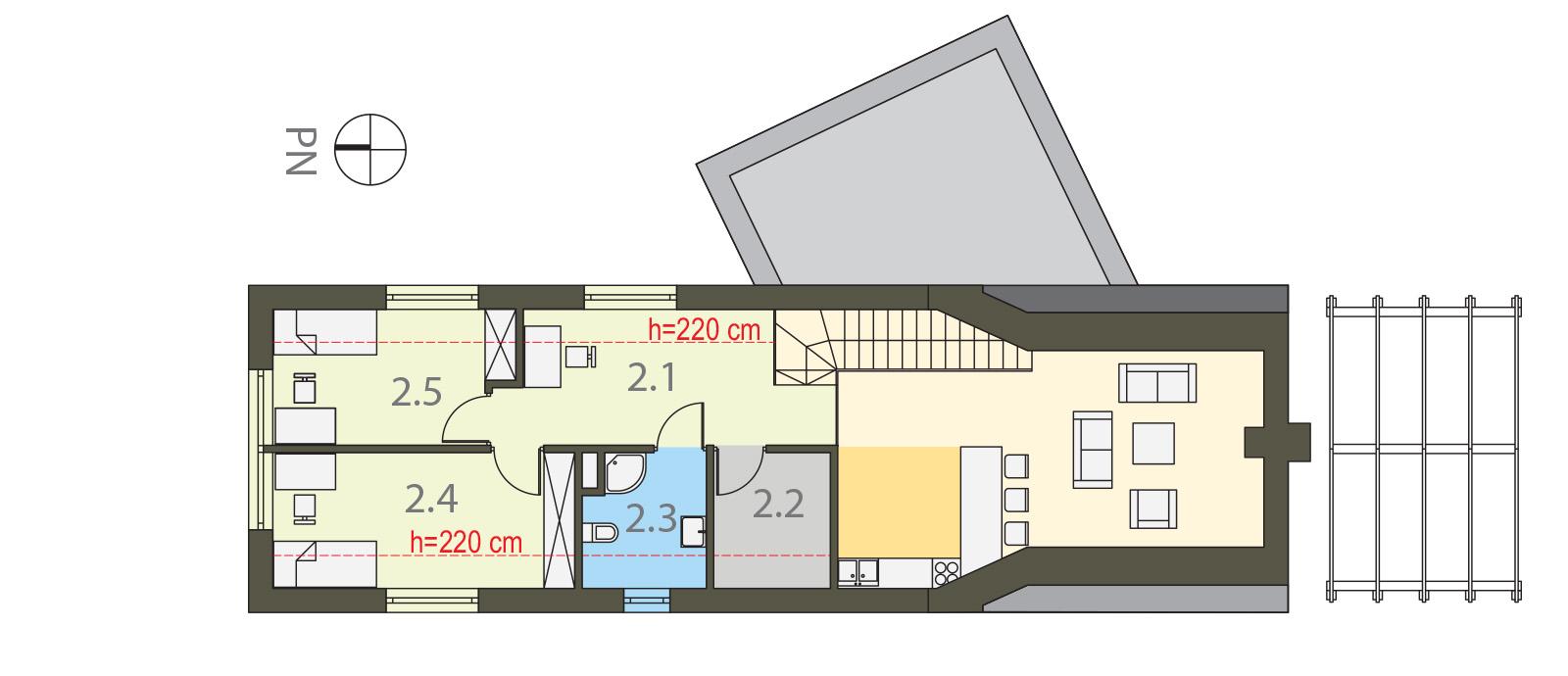 Projekt domu ZYGZAK Domy Czystej Energii rzut piętra