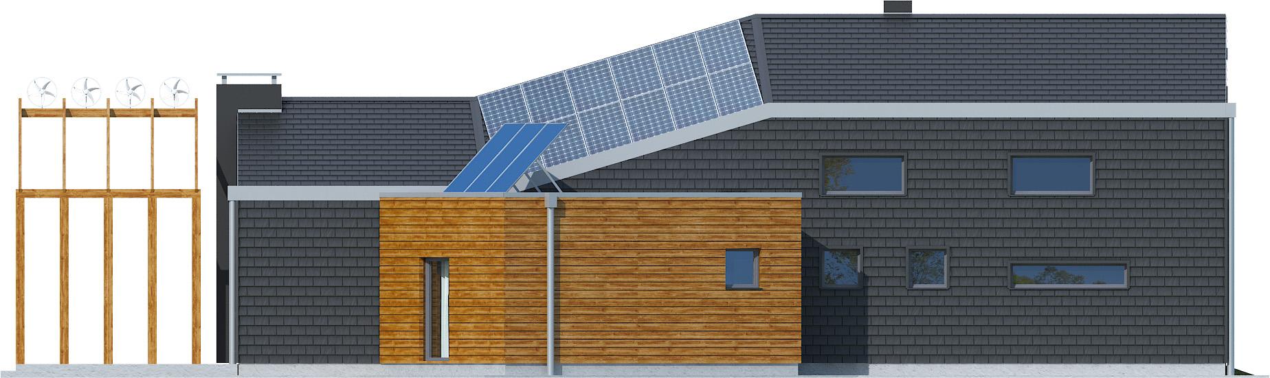 Projekt domu ZYGZAK Domy Czystej Energii elewacja tylna