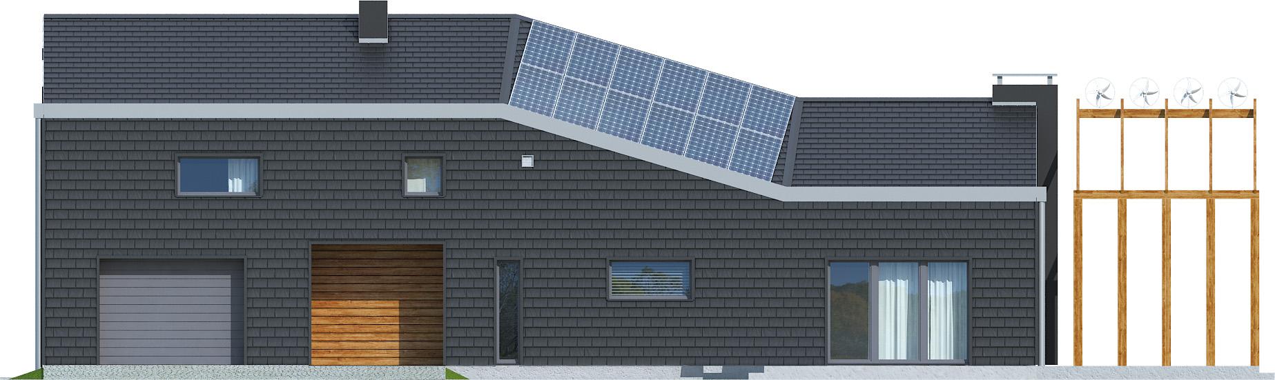 Projekt domu ZYGZAK Domy Czystej Energii elewacja frontowa