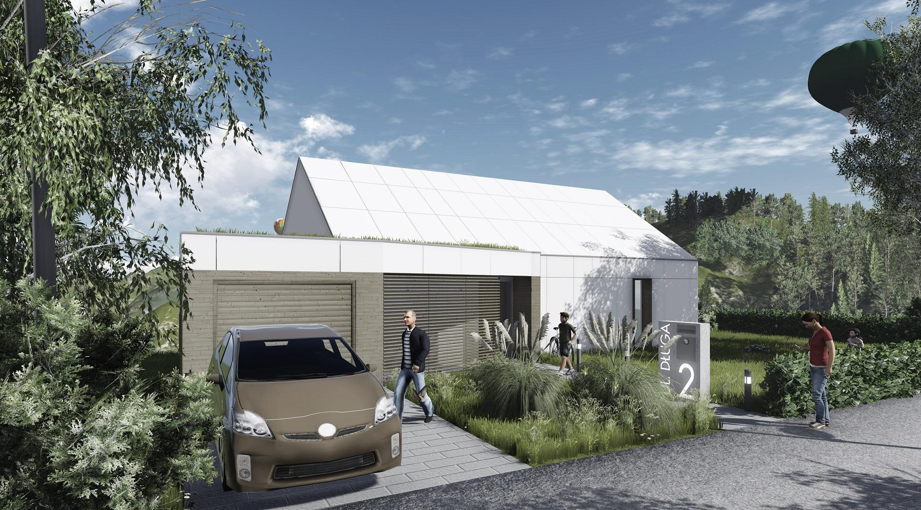 Projekt domu pasywnego DAS HAUS III Domy Czystej Energii widok od frontu