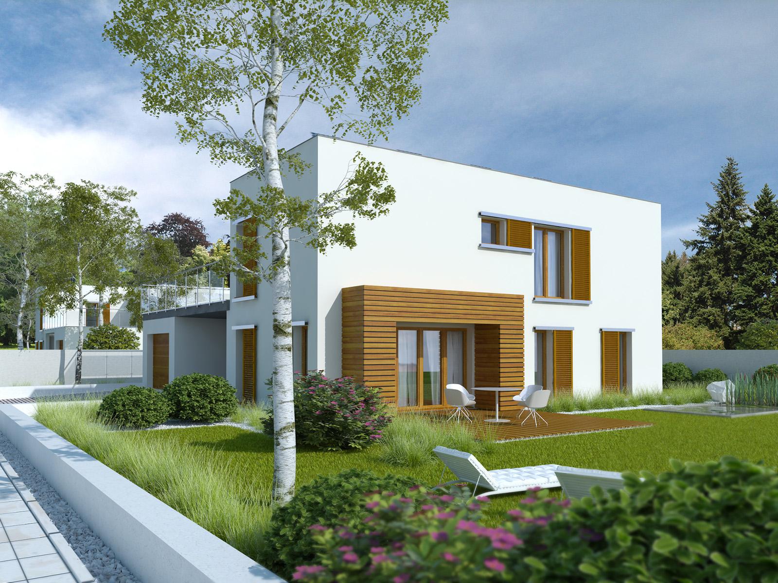 Projekt domu ZIELONY TARAS Domy Czystej Energii widok od ogrodu