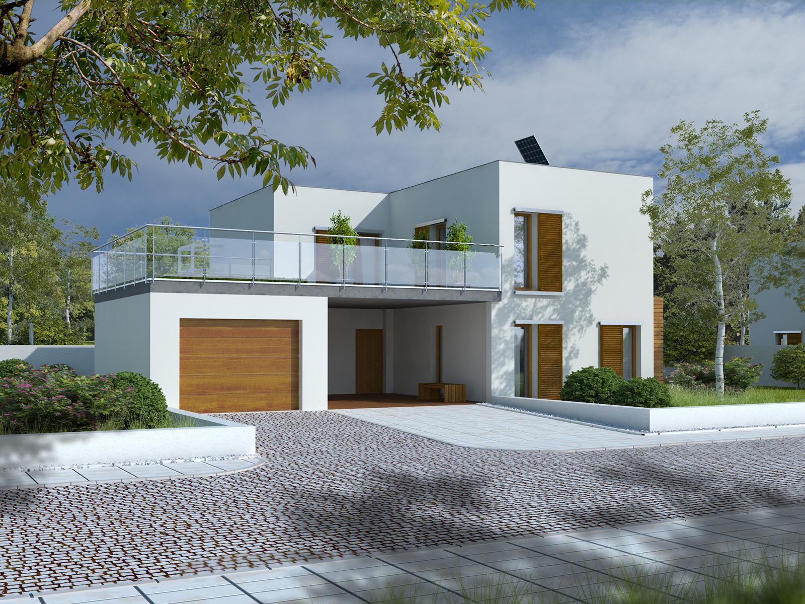 Projekt domu ZIELONY TARAS Domy Czystej Energii widok od frontu