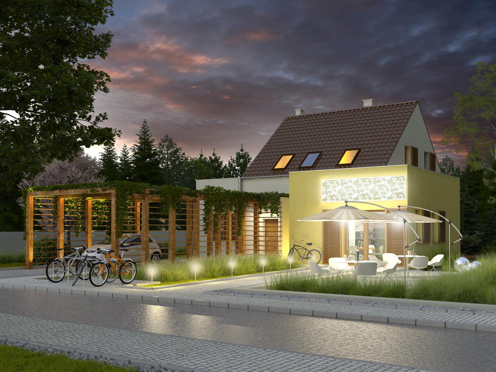 Projekt domu EKOOSTOJA Domy Czystej Energii widok od frontu