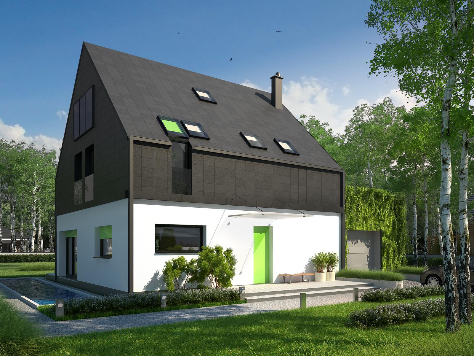 Projekt domu ELEGANCKI Domy Czystej Energii widok od frontu