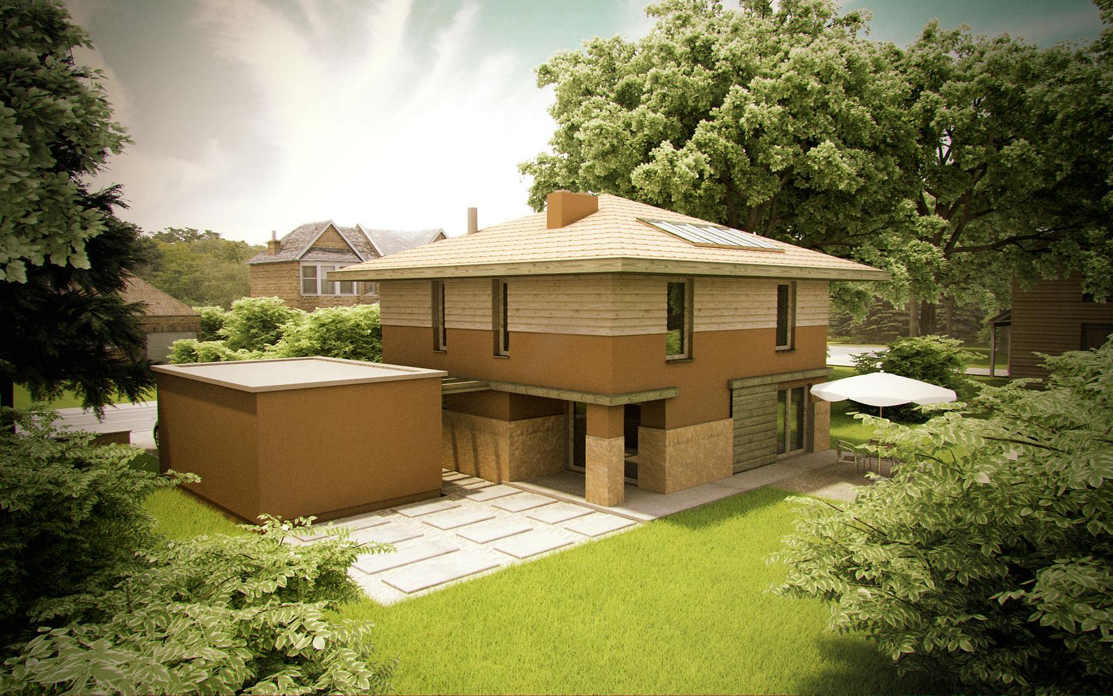 Projekt domu KWADRAT Domy Czystej Energii widok od ogrodu