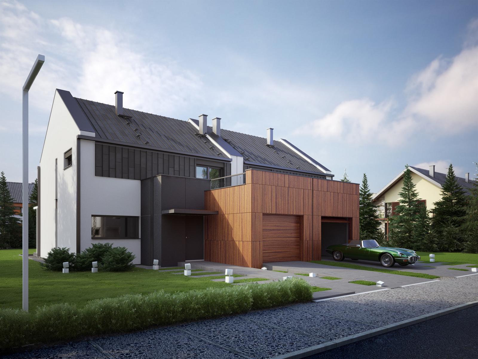 Projekt domu TWIN MODERN B Domy Czystej Energii widok od frontu