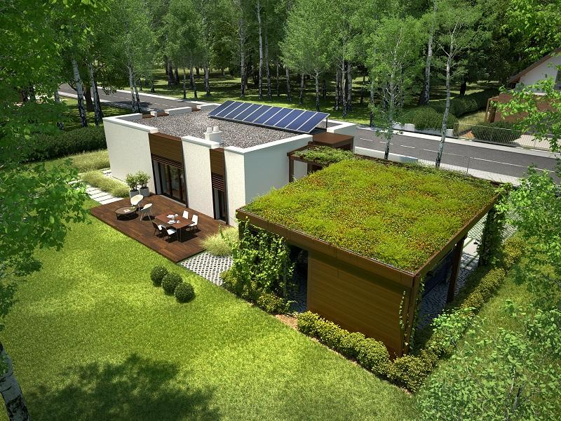 Projekt domu NOWOCZESNY Domy Czystej Energii widok od ogrodu