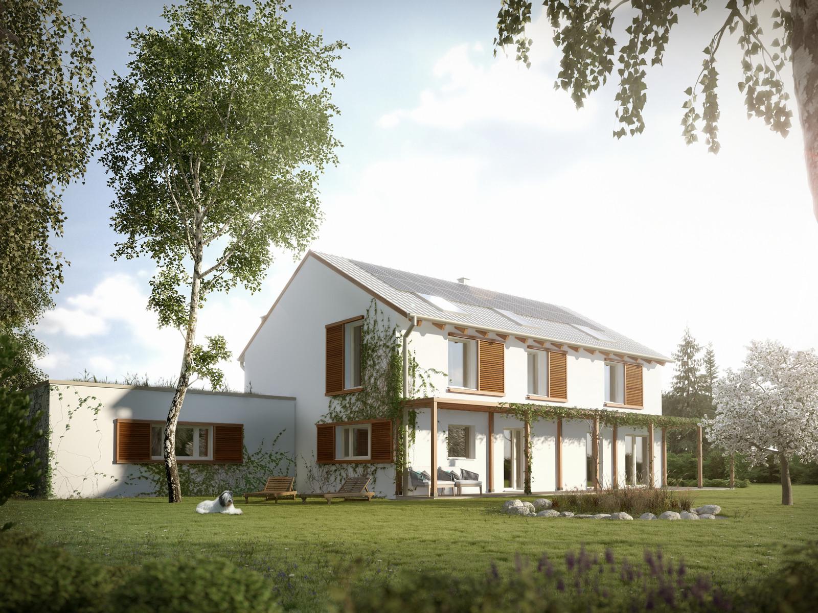Projekt domu ORKISZ Domy Czystej Energii widok z boku i od ogrodu