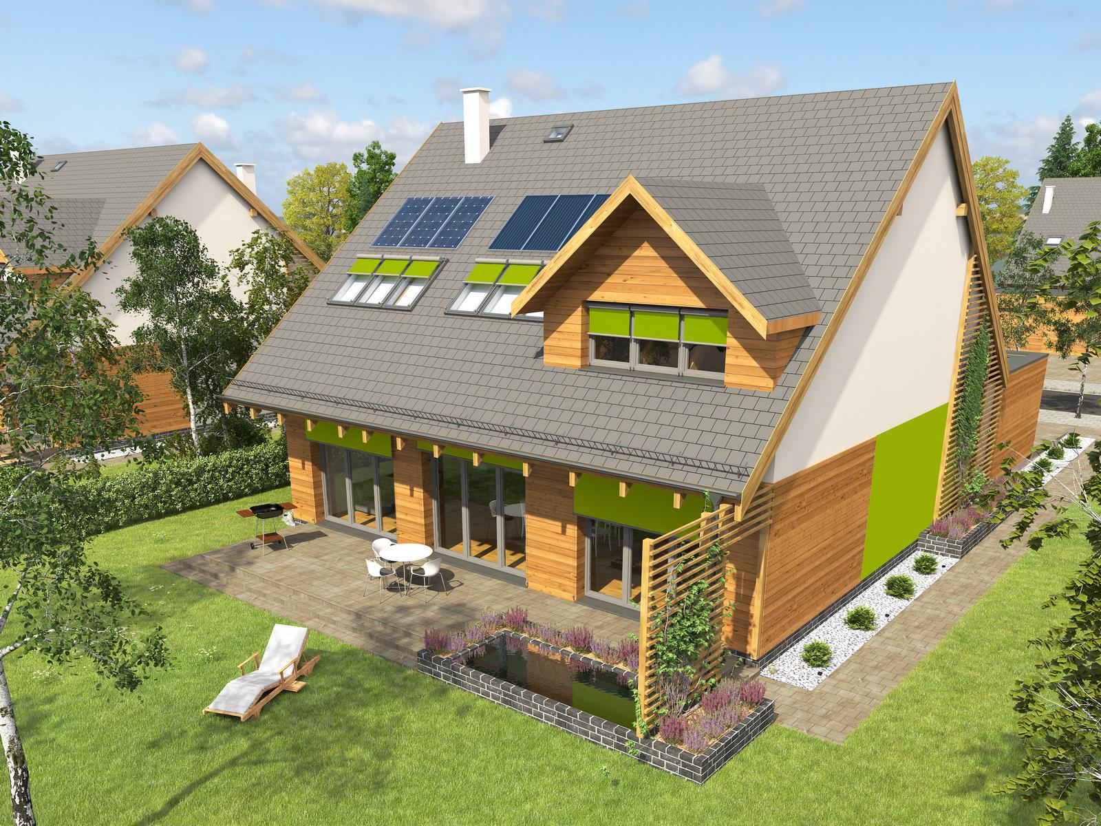 Projekt domu POGODNY Domy Czystej Energii widok od ogordu