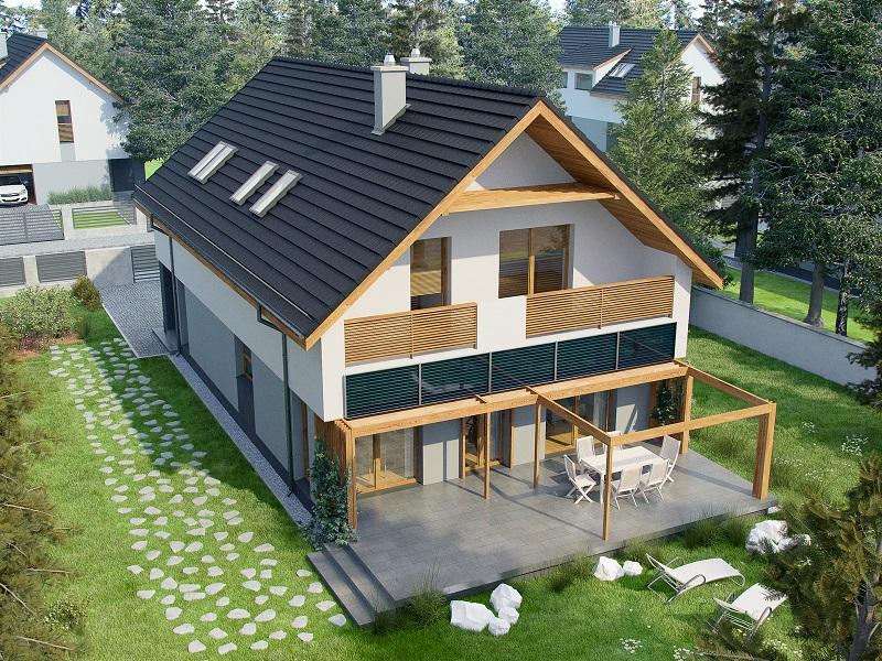 Projekt domu PRAKTYCZNY Domy Czystej Energii widok od ogrodu