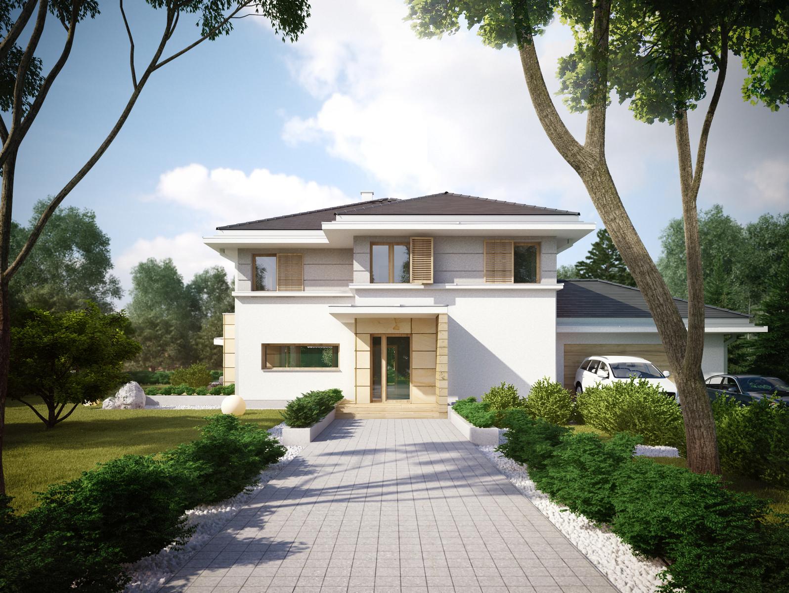 Projekt domu PRZYJEMNY Domy Czystej Energii widok od boku i od frontu