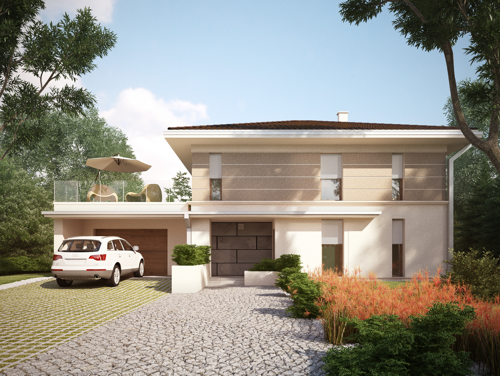 Projekt domu SOLIDNY Domy Czystej Energii widok od frontu