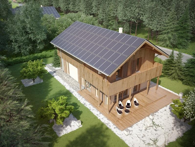 Projekt domu SZWAJCARKA Domy Czystej Energii widok od ogrodu