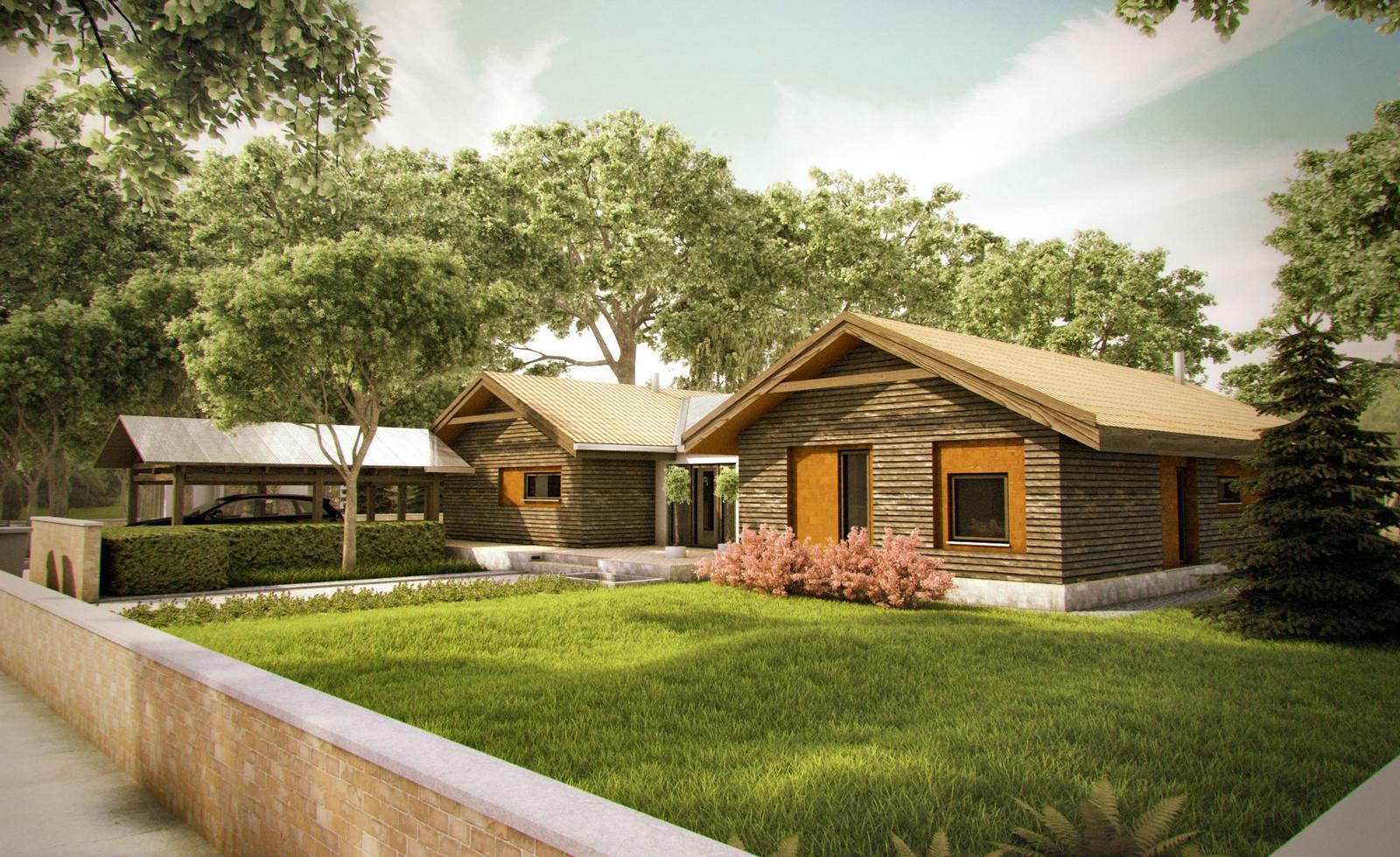 Projekt domu TARASOWY Domy Czystej Energii widok od frontu