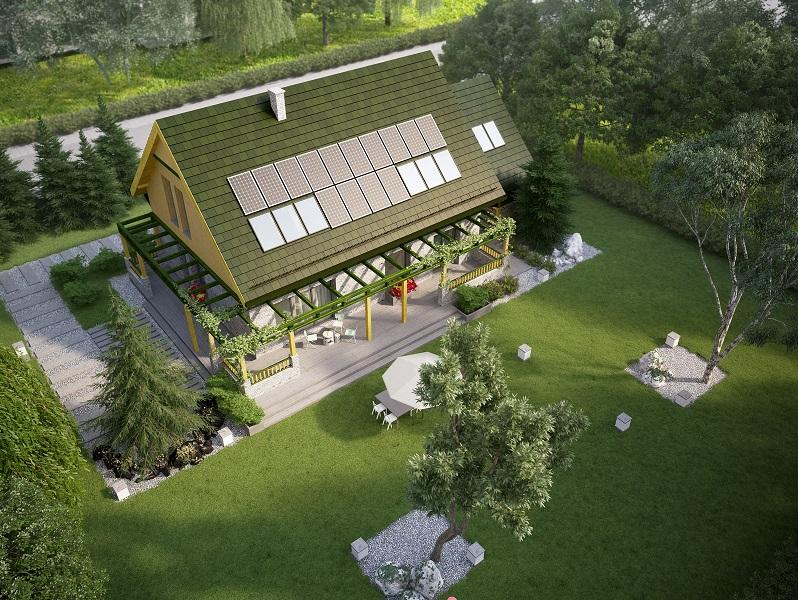 Projekt domu WIOSENNY Domy Czystej Energii widok od ogrodu