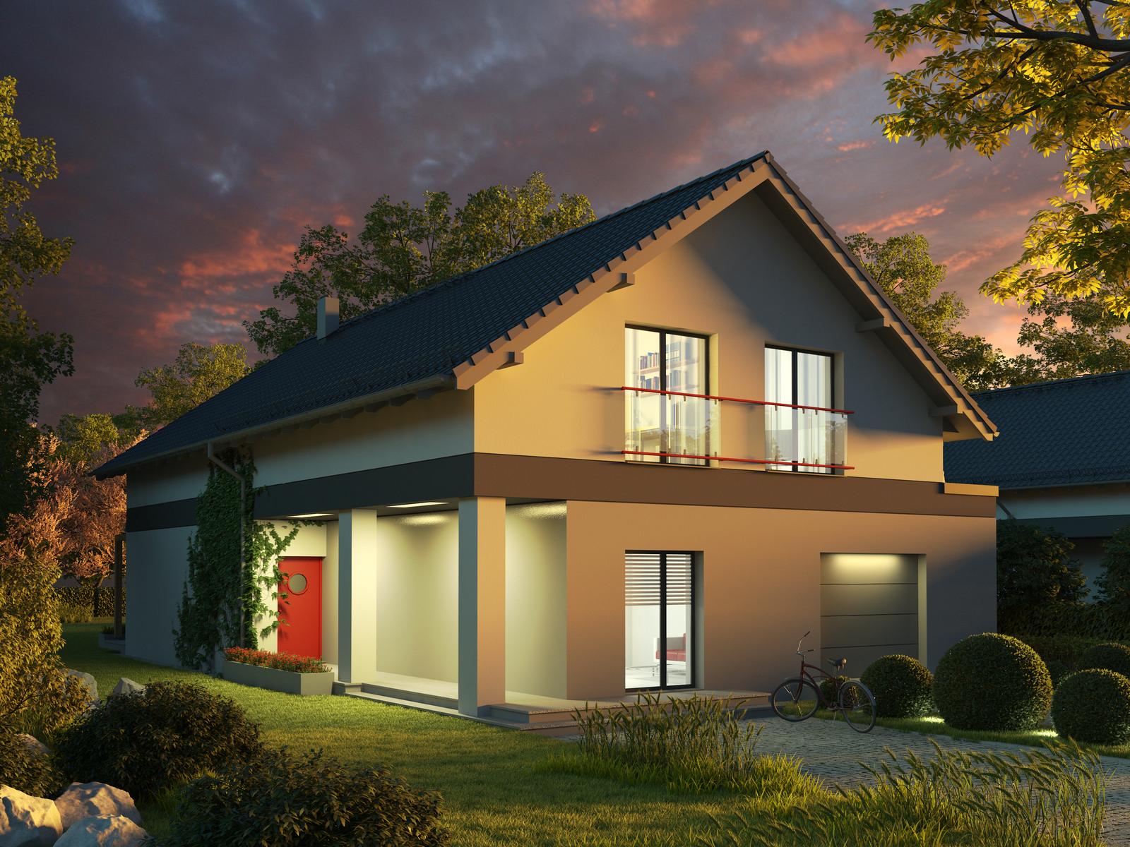 Projekt domu WĄSKI Domy Czystej Energii widok od frontu