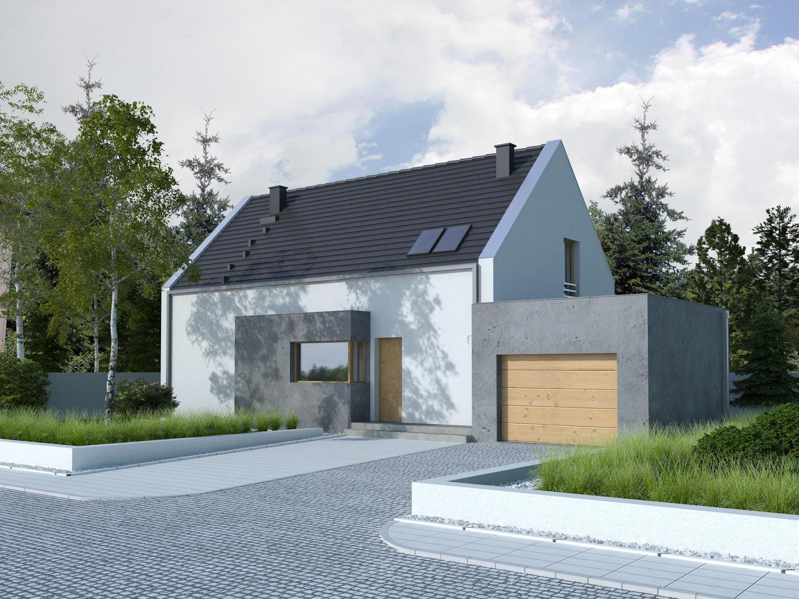 Projekt domu Z WNĘKĄ Domy Czystej Energii widok od frontu