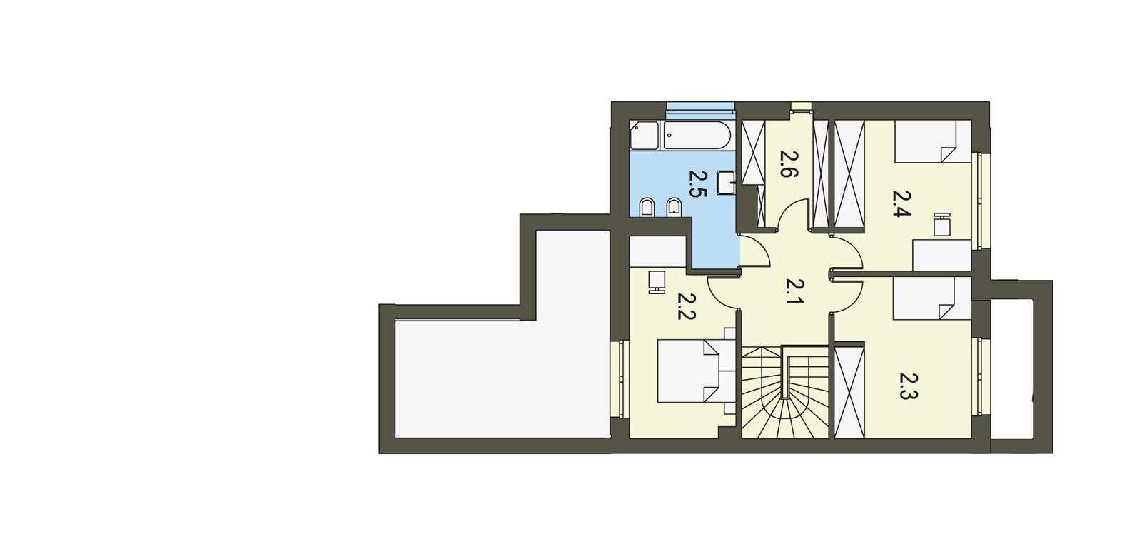 Projekt domu TWIN MODERN B Domy Czystej Energii rzut piętra