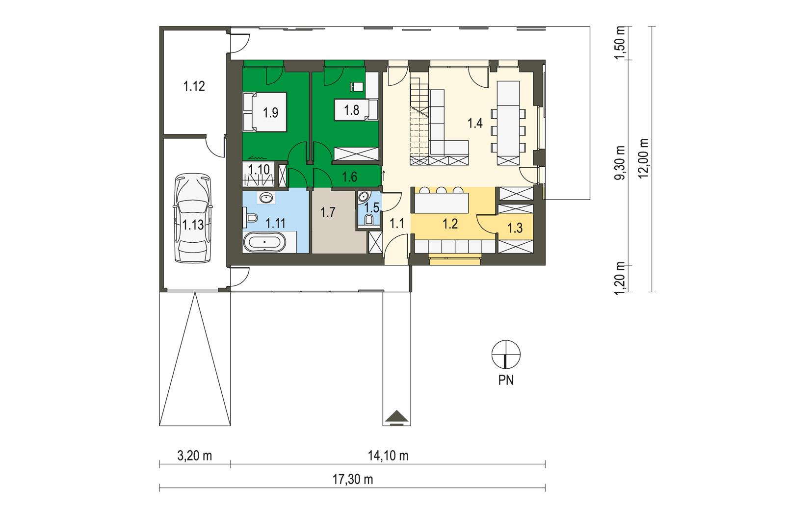 Projekt domu pasywnego DAS HAUS I Domy Czystej Energii rzut parteru