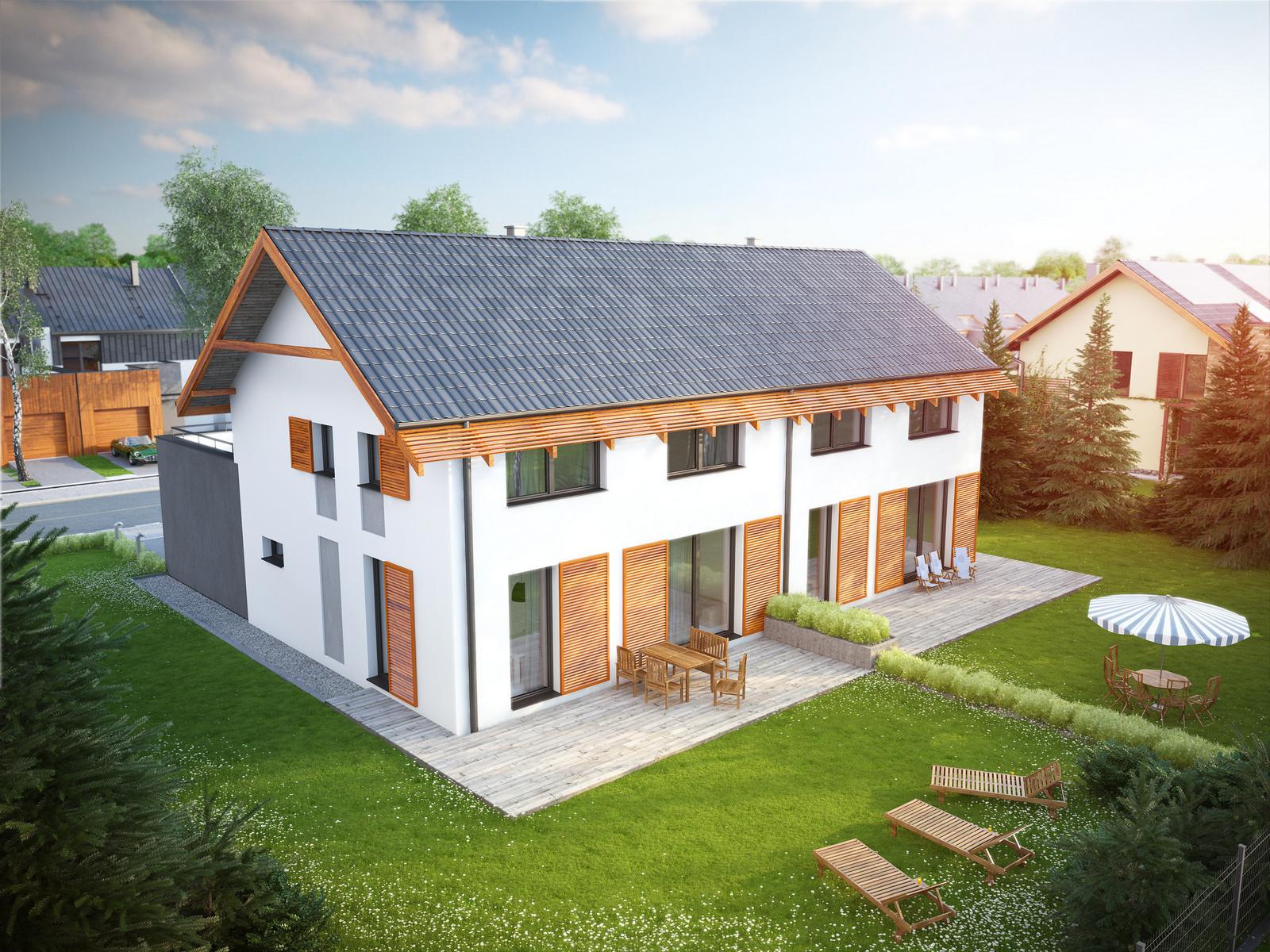 Projekt domu TWIN ECONOMIC A Domy Czystej Energii widok od ogrodu