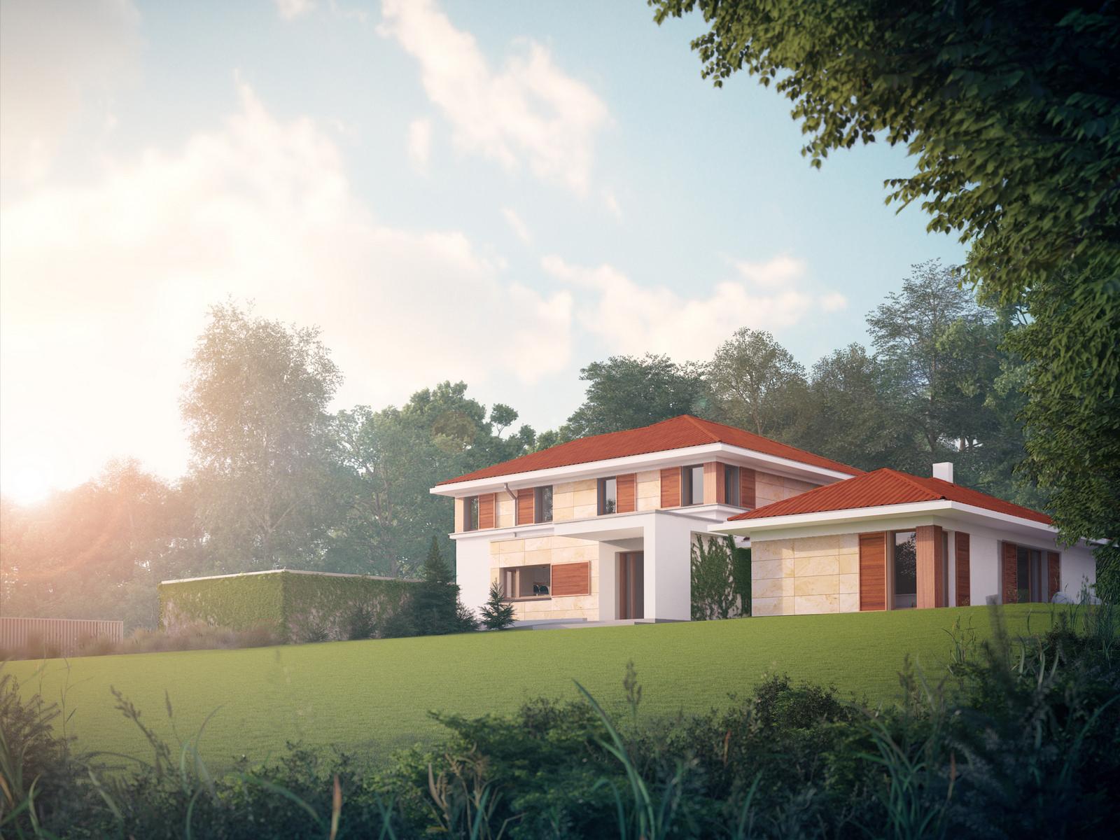 Projekt domu ZDROJOWY Domy Czystej Energii widok od ogrodu