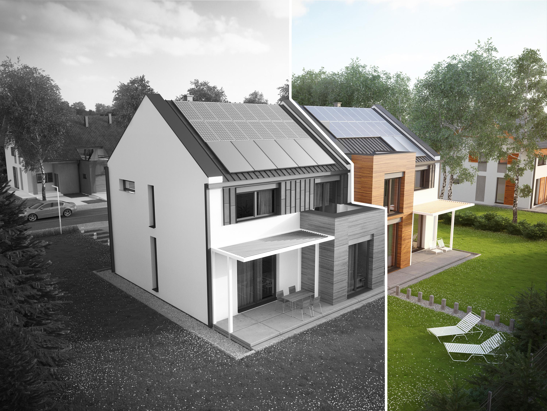 Projekt domu TWIN MODERN A Domy Czystej Energii widok od ogrodu