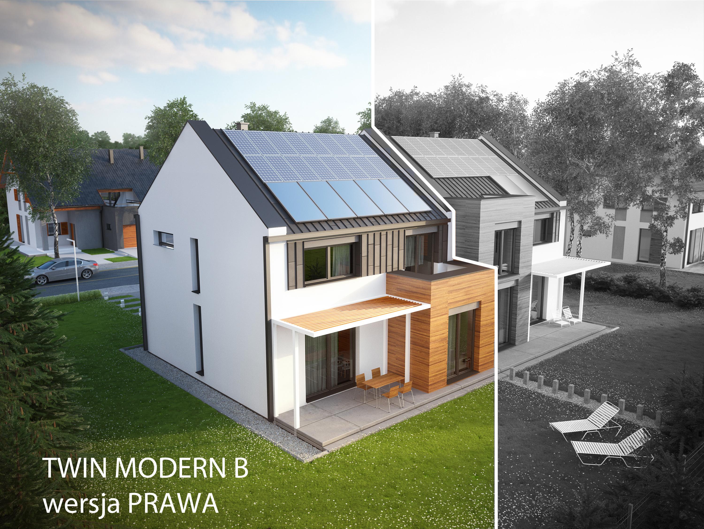 Projekt domu TWIN MODERN B Domy Czystej Energii widok od ogrodu
