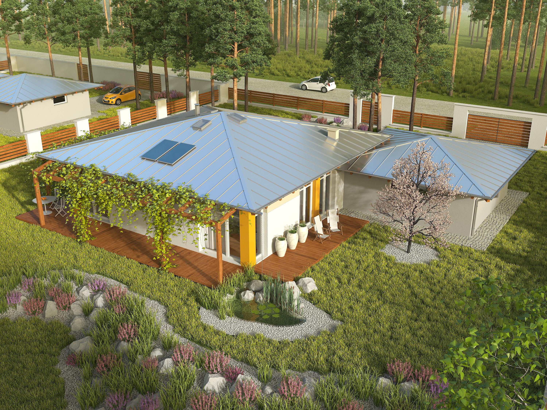 Projekt domu KOPERTOWY Domy Czystej Energii widok od ogrodu