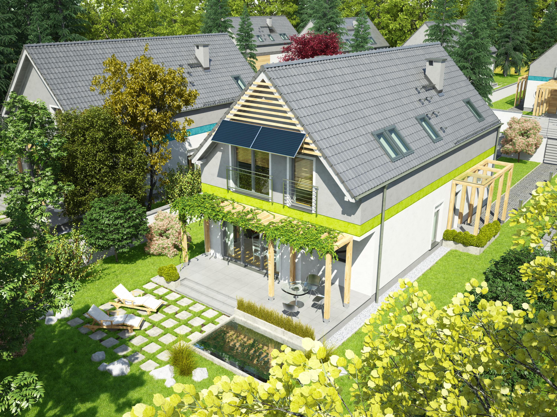 Projekt domu MAŁY I WĄSKI Domy Czystej Energii widok od ogrodu