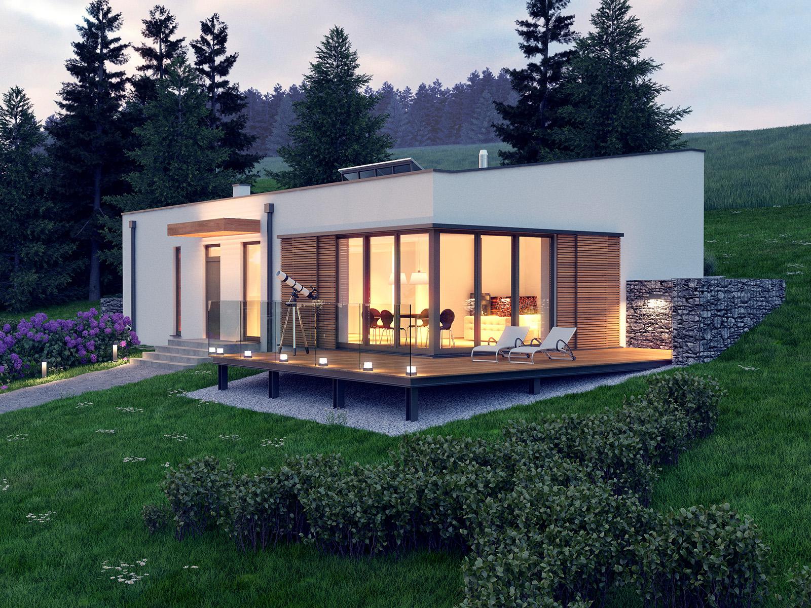 Projekt domu OTULONY Domy Czystej Energii widok od frontu