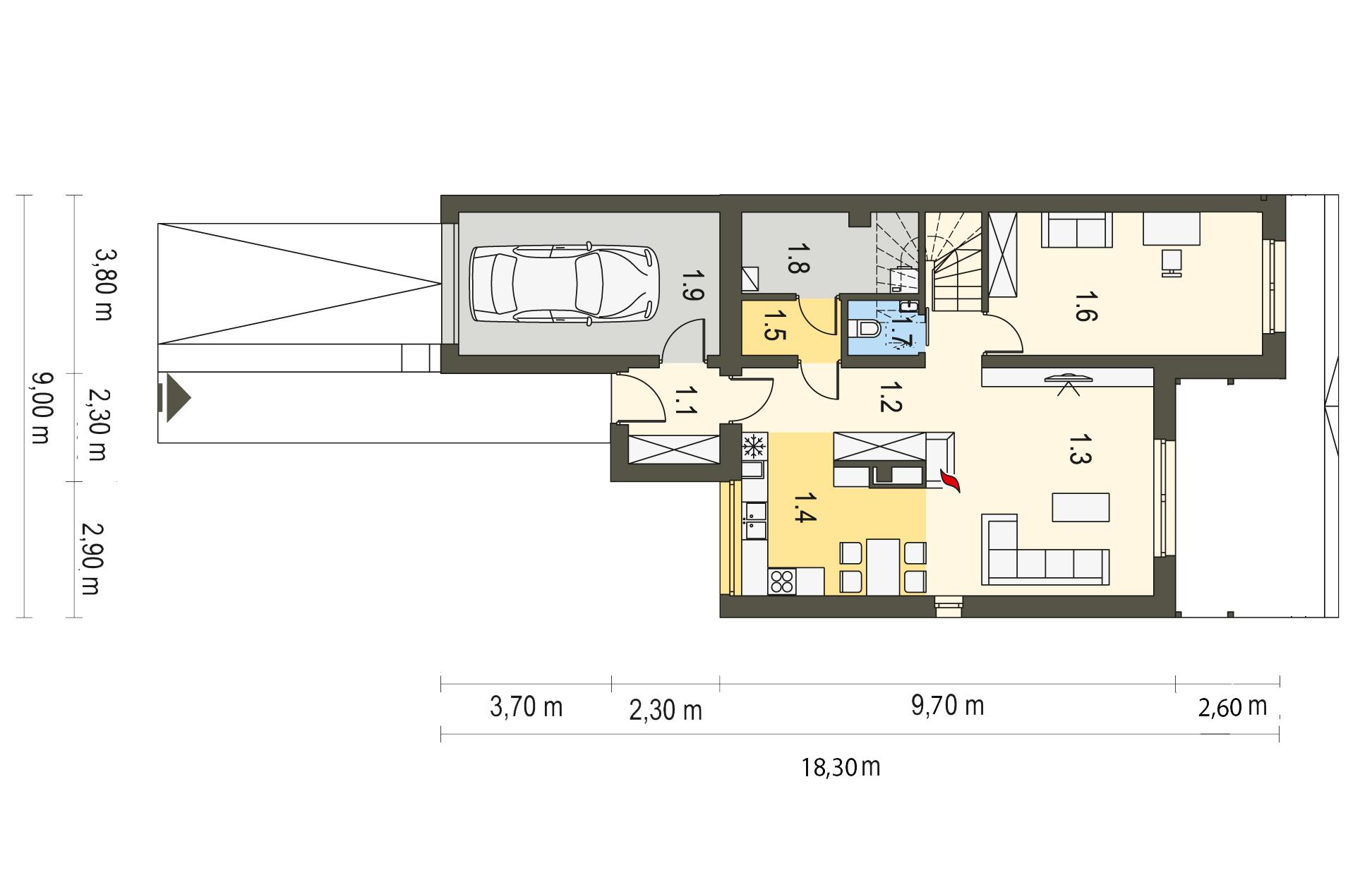 Projekt domu TWIN MODERN B Domy Czystej Energii rzut parteru