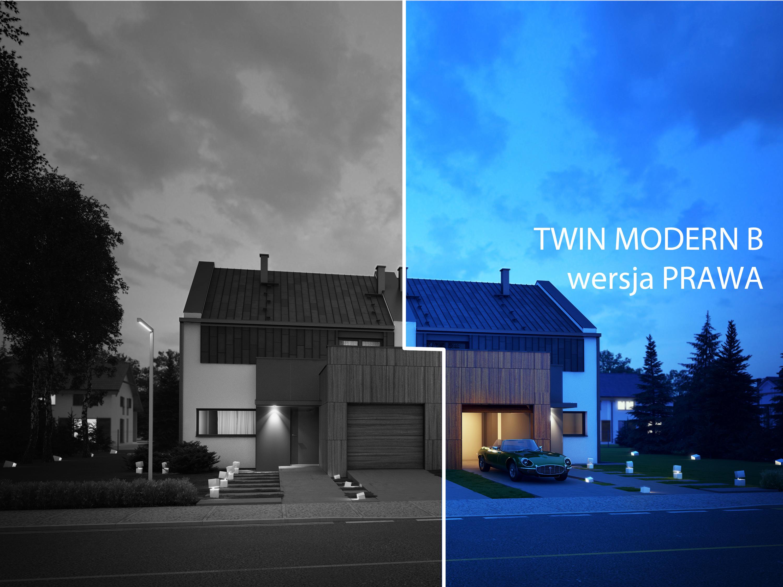 Projekt domu TWIN MODERN B Domy Czystej Energii widok nocą