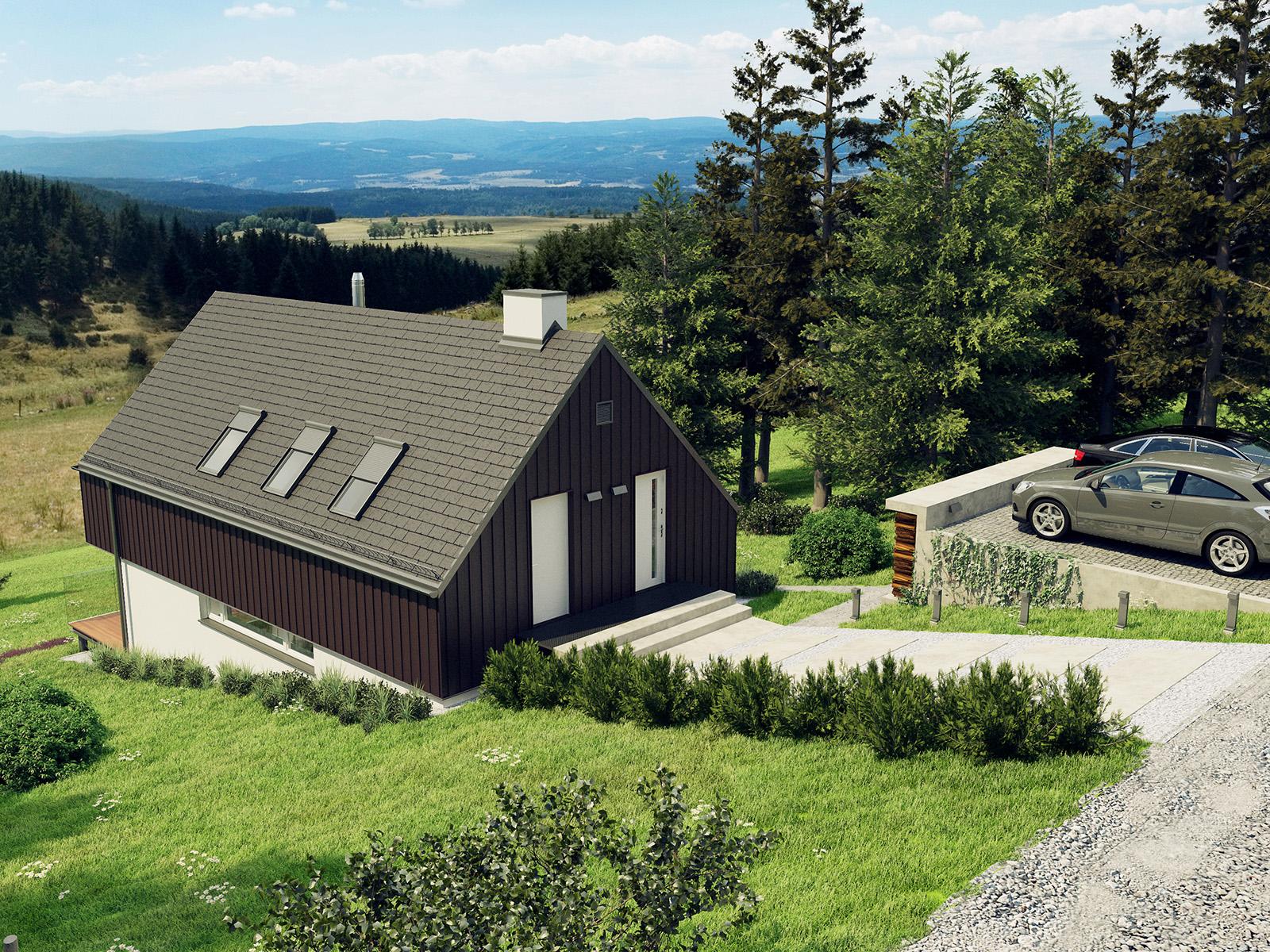 Projekt domu W KRAJOBRAZIE Domy Czystej Energii widok od frontu