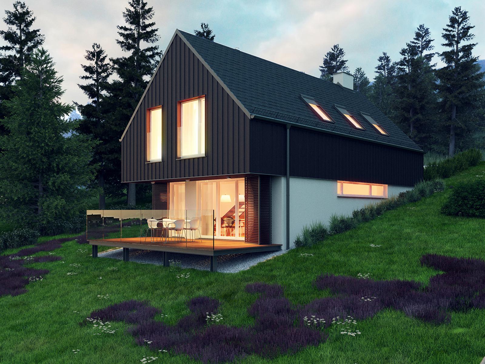 Projekt domu W KRAJOBRAZIE Domy Czystej Energii widok od ogrodu