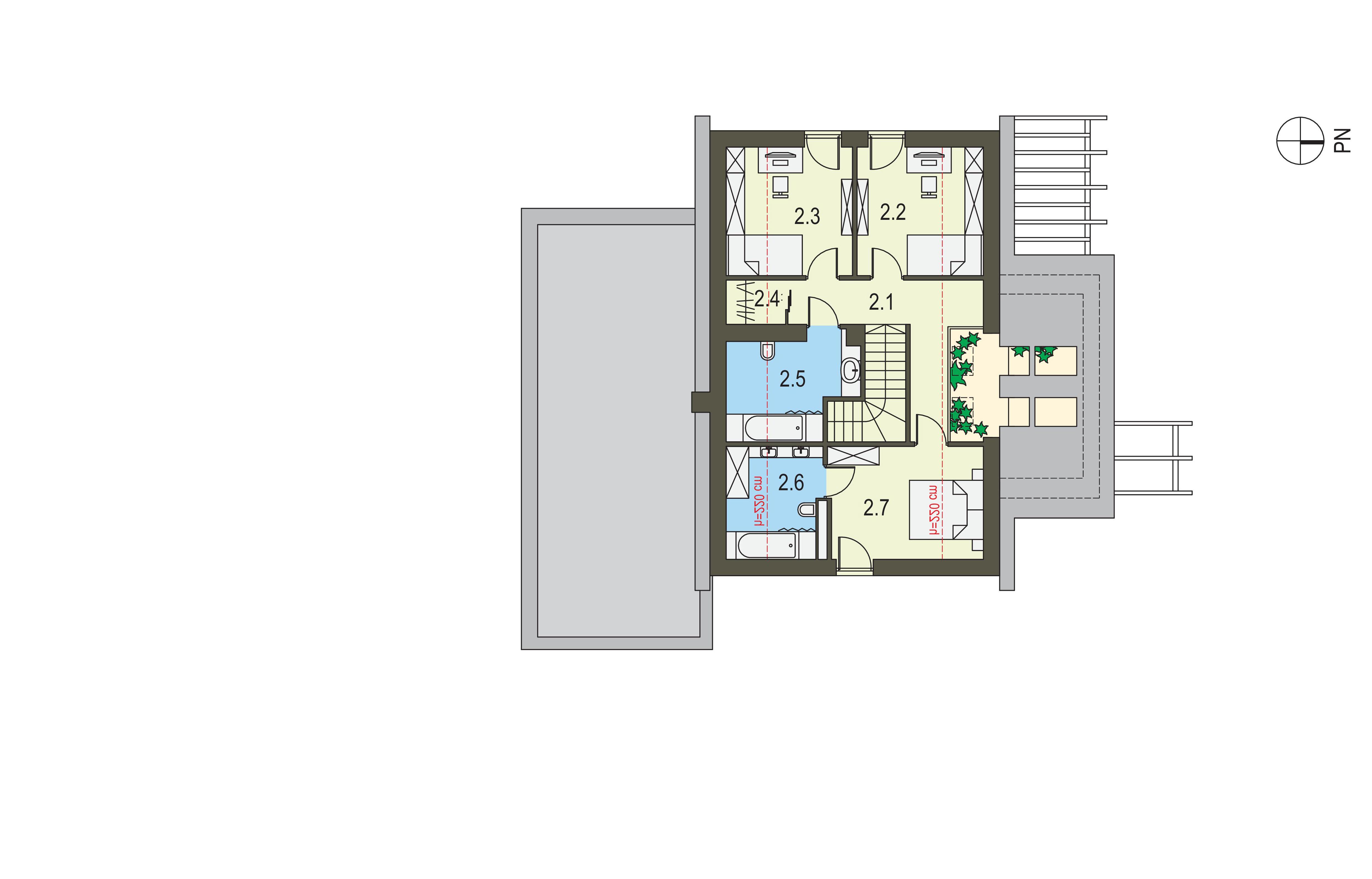 Projekt domu Z ORANŻERIĄ Domy Czystej Energii rzut piętra