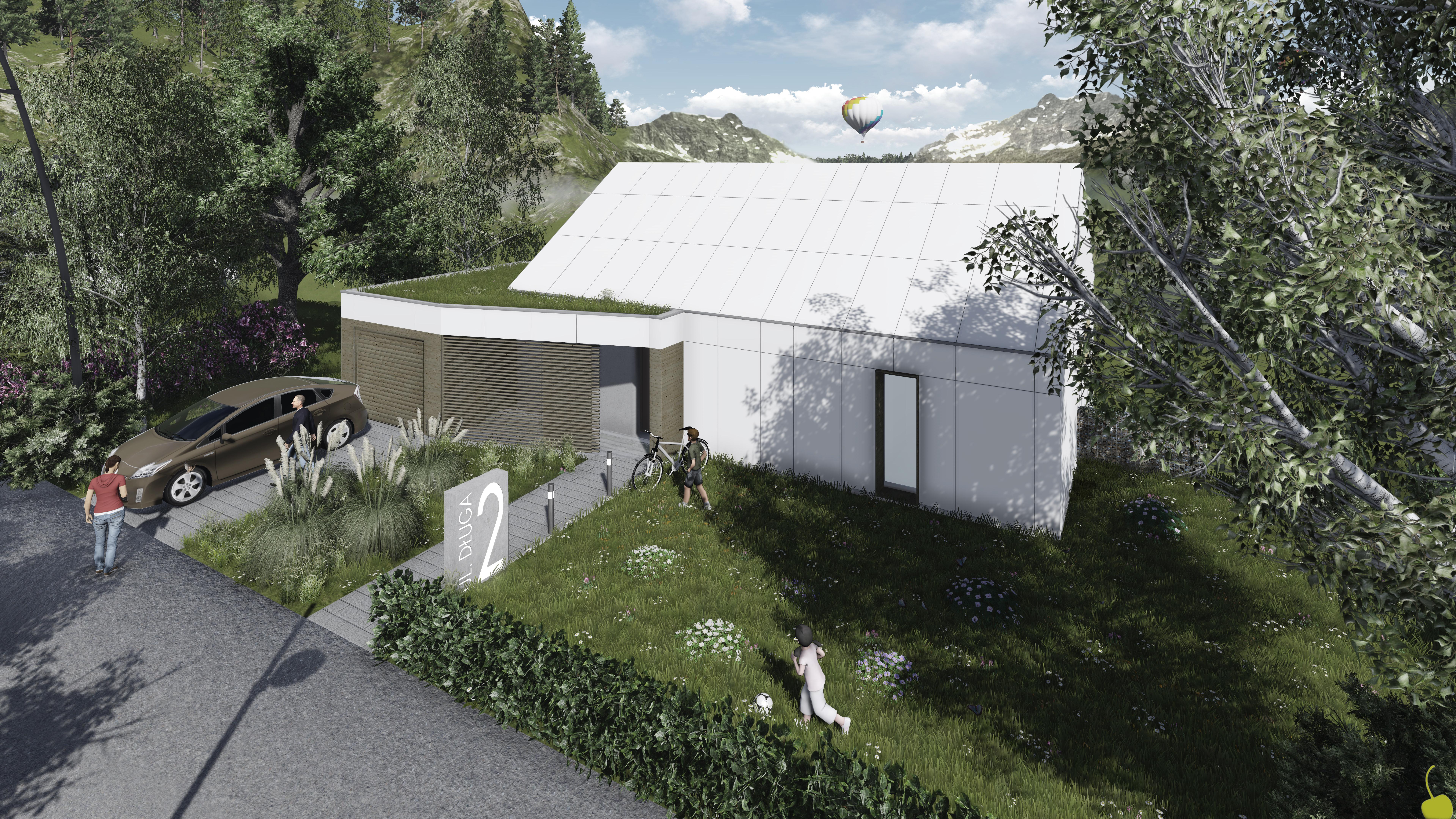 Projekt domu pasywnego DAS HAUS III Domy Czystej Energii widok od frontu2
